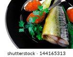golden smoked herring and fresh ... | Shutterstock . vector #144165313