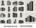 Buildings vector web icons set | Shutterstock vector #144209083