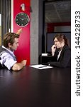 male boss angry at late female... | Shutterstock . vector #144228733