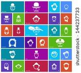 set of 27 face icons. gentlemen ... | Shutterstock .eps vector #144237733