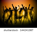 silhouette of a group of party... | Shutterstock .eps vector #144241387