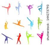 dancers silhouette vector... | Shutterstock .eps vector #144273793