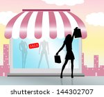 woman doing shopping with... | Shutterstock . vector #144302707