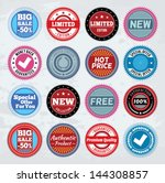 collection of round promotion... | Shutterstock .eps vector #144308857