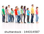 a group of people standing in... | Shutterstock . vector #144314587