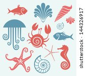 vector set of sea fauna.... | Shutterstock .eps vector #144326917