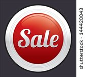 sale button. vector red round... | Shutterstock .eps vector #144420043