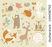 Stock vector vector set of cute wild animals in the forest fox bear hedgehog rabbit snail deer owl bird 144438703