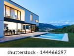 modern villa with pool  night... | Shutterstock . vector #144466297