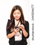 young businesswoman with... | Shutterstock . vector #144504677