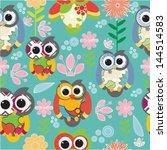 owl seamless | Shutterstock .eps vector #144514583