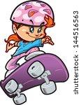 tough girl skateboarder with... | Shutterstock .eps vector #144516563