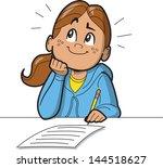 schoolgirl or woman taking a... | Shutterstock .eps vector #144518627
