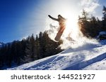 powerful image of a snowboarder ... | Shutterstock . vector #144521927