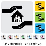 hand protecting family   house... | Shutterstock .eps vector #144535427