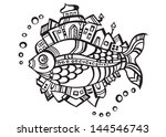 fantastic fish city  logo... | Shutterstock .eps vector #144546743