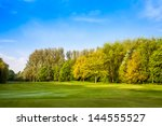 green field and trees. summer... | Shutterstock . vector #144555527