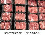 variety of meat slices in boxes ... | Shutterstock . vector #144558203
