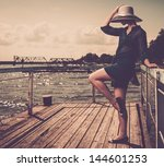 stylish woman in white hat