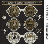 vector set of vintage glasses. | Shutterstock .eps vector #144611177