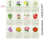 2014 Calendar With Flowers Of...
