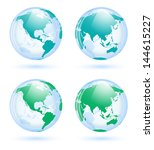 earth globes set isolated on...   Shutterstock .eps vector #144615227