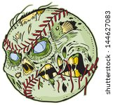 A Zombie Baseball Vector Cartoon! Color elements are in a separate layer in the .eps for easy customization!