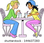 two girlfriends at a bar or... | Shutterstock .eps vector #144637283