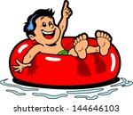 happy boy floating on an inner... | Shutterstock .eps vector #144646103