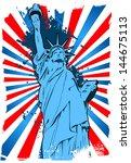 statue of liberty grunge... | Shutterstock .eps vector #144675113