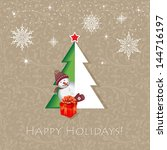 holidays concept. a half tree... | Shutterstock .eps vector #144716197