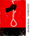Red and black poster with hand and gallows