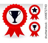 trophy  star ribbons   reward   ... | Shutterstock .eps vector #144872743