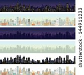Wide Cityscape at Different Time. Detailed Vector Illustration Skyline of Modern City Downtown at Daylight, Midnight.