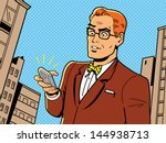Ironic Illustration of a Retro 1940s or 1950s Man With Glasses, Bow Tie and Modern Smartphone | Shutterstock vector #144938713