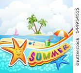 summer beach with starfish and... | Shutterstock . vector #144954523