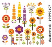 set of retro style flowers and... | Shutterstock . vector #144993607