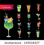 set of fresh cocktails.... | Shutterstock .eps vector #145018327