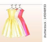 2 dresses on the hanger in...   Shutterstock .eps vector #145048933