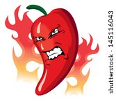 angry hot flaming red pepper | Shutterstock .eps vector #145116043