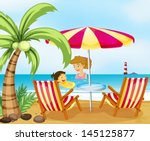 illustration of a mother and... | Shutterstock .eps vector #145125877