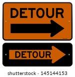 detour sign | Shutterstock .eps vector #145144153