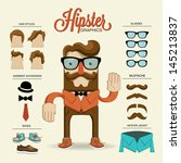 Hipster character, vector illustration with hipster elements and icons | Shutterstock vector #145213837