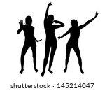 silhouettes of dancing girls | Shutterstock .eps vector #145214047
