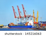 container stack and ship under... | Shutterstock . vector #145216063