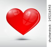 Vector Red Heart On Grey...