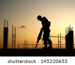 silhouette of a worker on a... | Shutterstock . vector #145220653