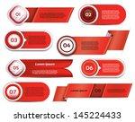 set of red vector progress ... | Shutterstock .eps vector #145224433