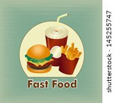 fast food label over lineal... | Shutterstock .eps vector #145255747