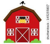 Cute Red Vector Barn with Hay, Weather Vane and Bushes - stock vector